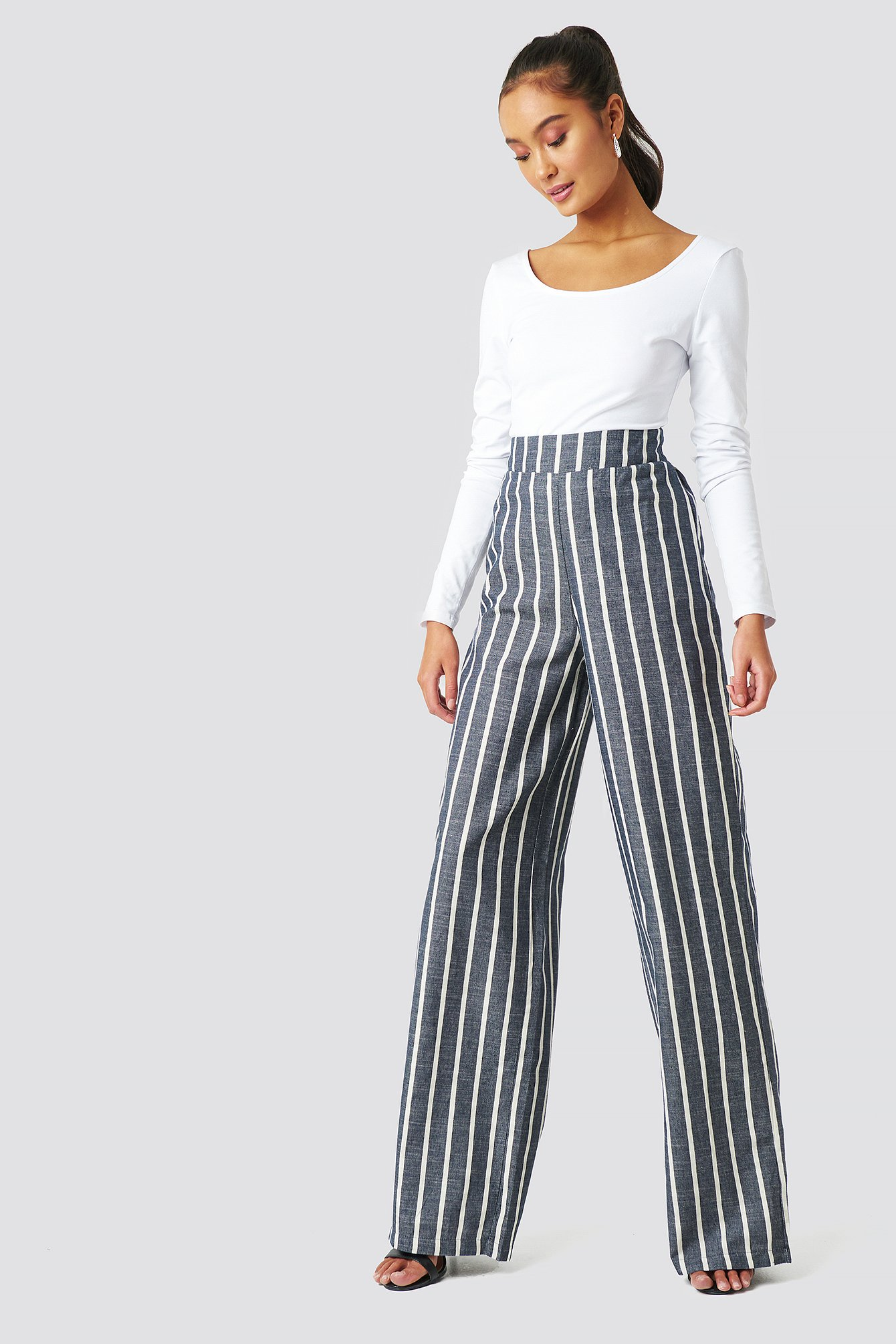 trendyol -  Milla Striped Pants - Blue