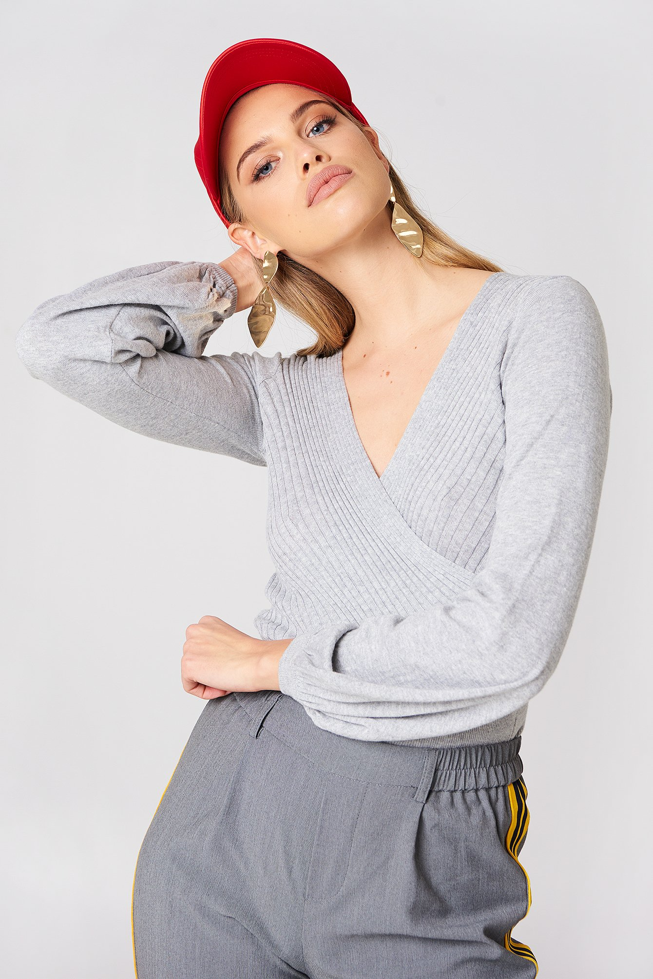 Minkpink Laura Knitted Wrap Top - Grey 1490-000028-0111