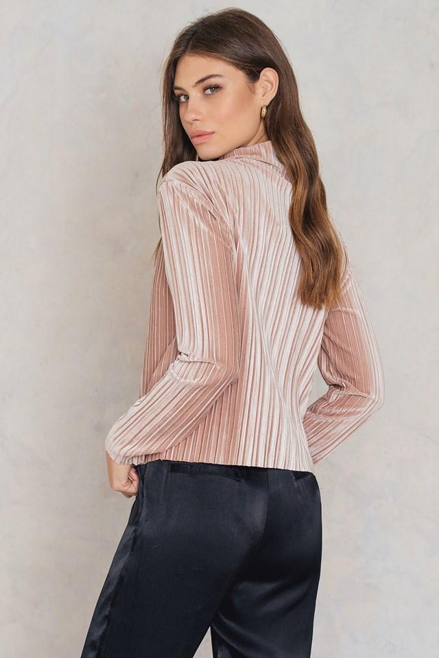 Pleated Velvet Top Blush