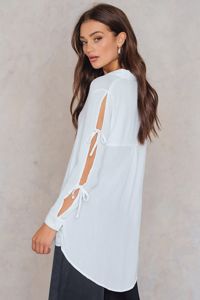 Tie Sleeve Shirt Off White