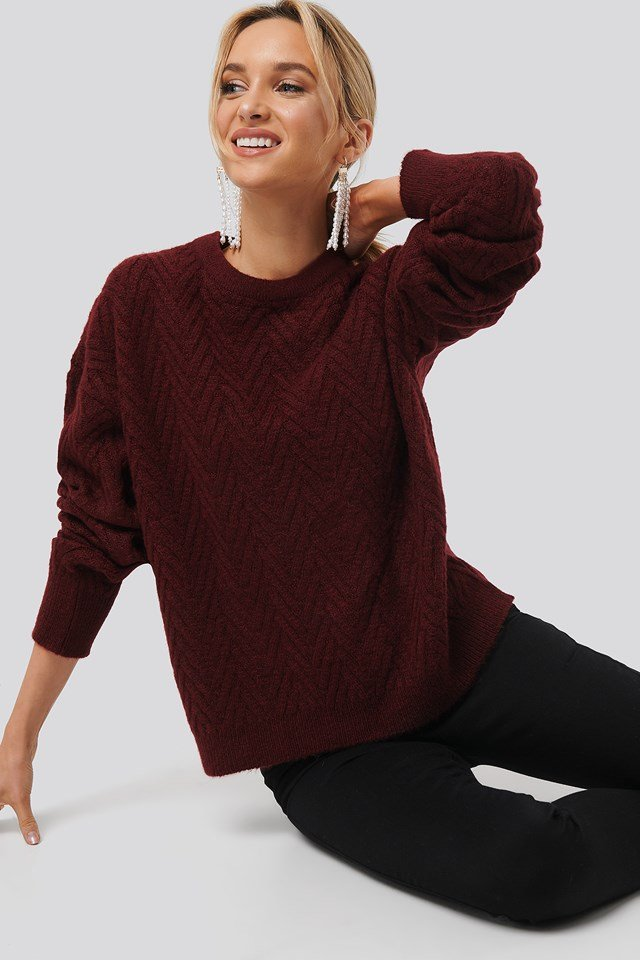 Pattern Knitted Sweater Red