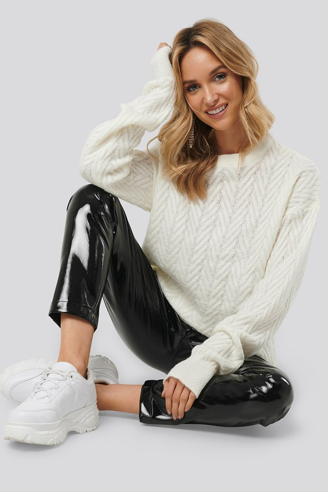 Pattern Knitted Sweater Offwhite