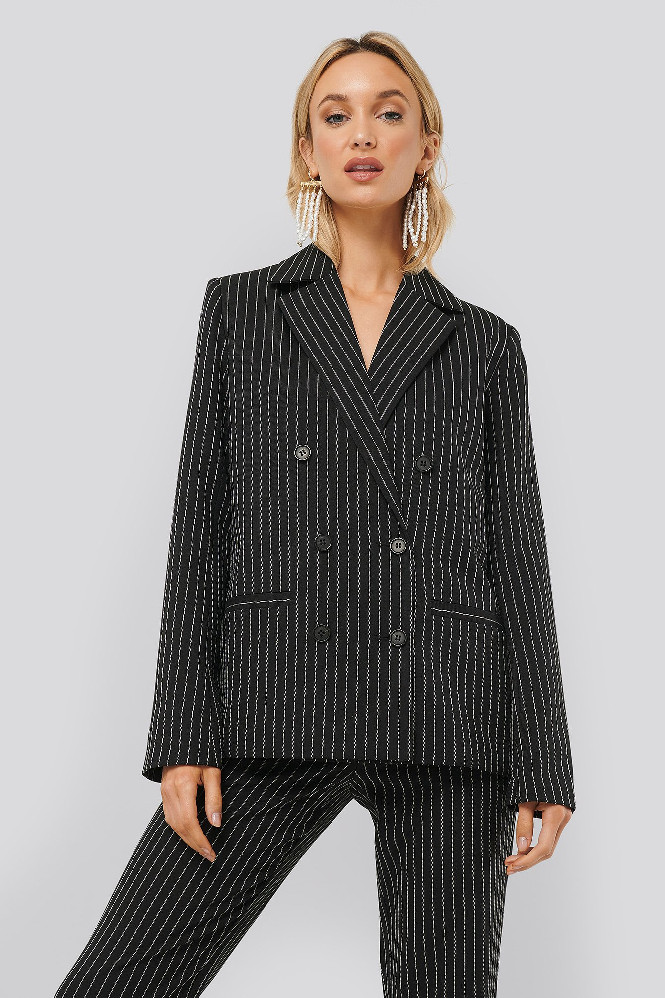 monica geuze x na-kd -  Pinstriped Blazer - Multicolor