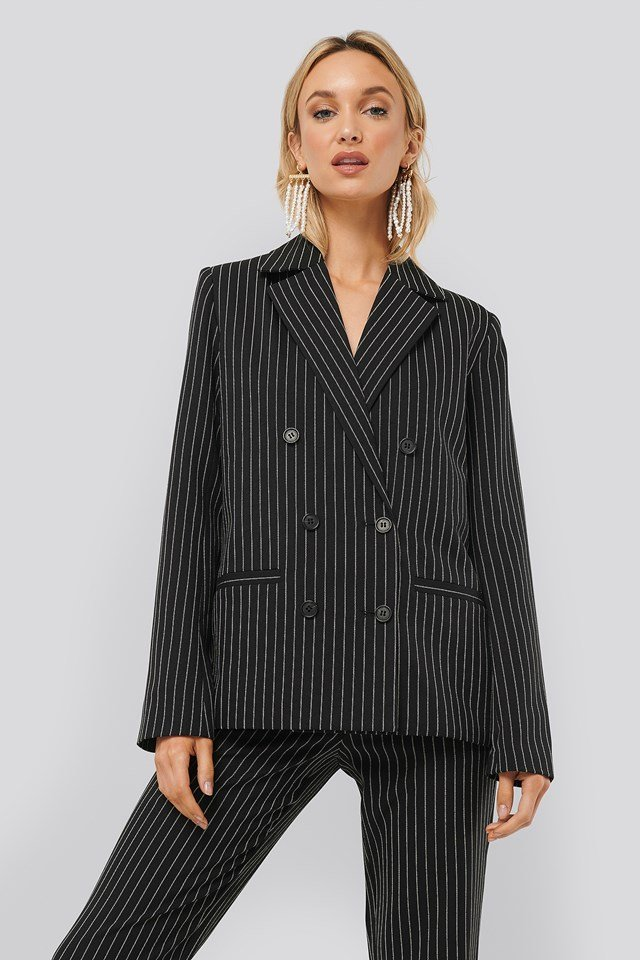 Pinstriped Blazer Black/Stripe