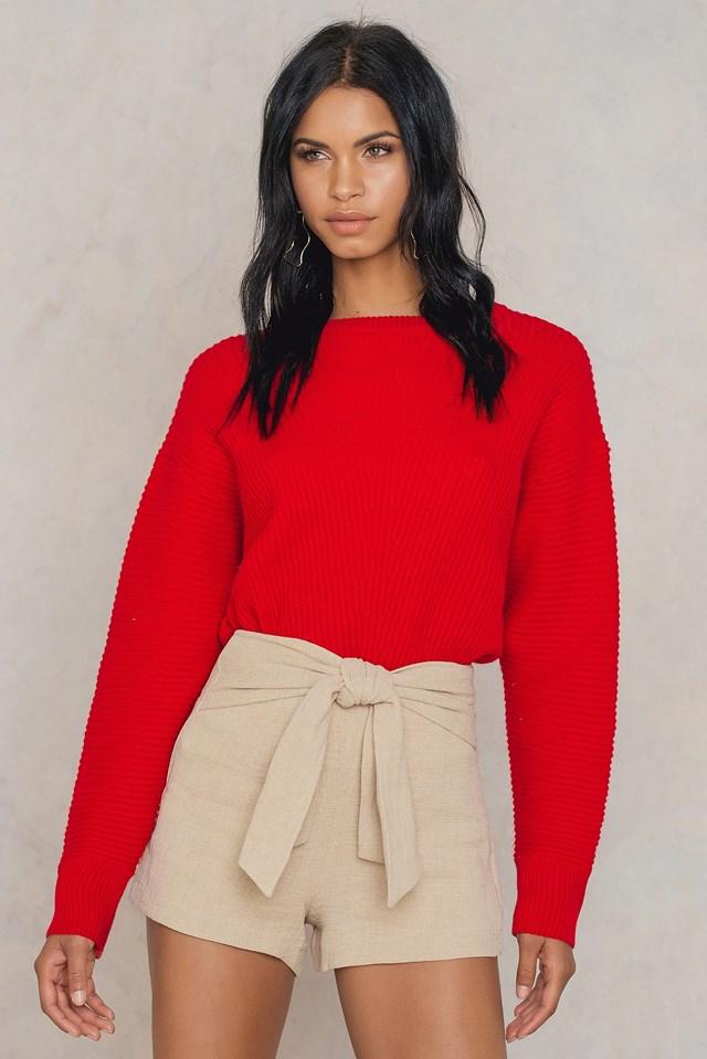 Knot Front Shorts Natural