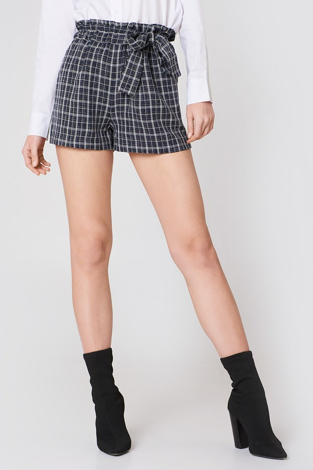 Paperbag Waist Shorts Navy Plaid