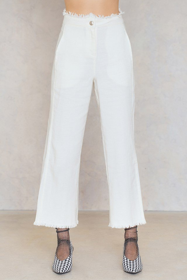 Raw Hem Flare Pants White