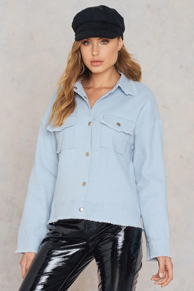 Raw Hem Pocket Jacket Blue