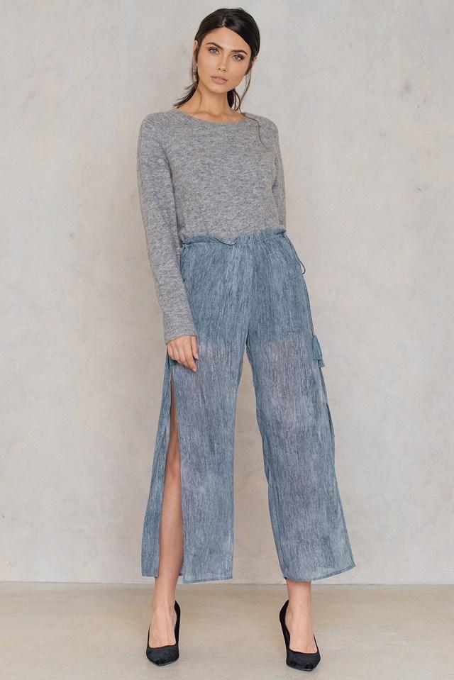 Wide Slit Pant Washed Blue