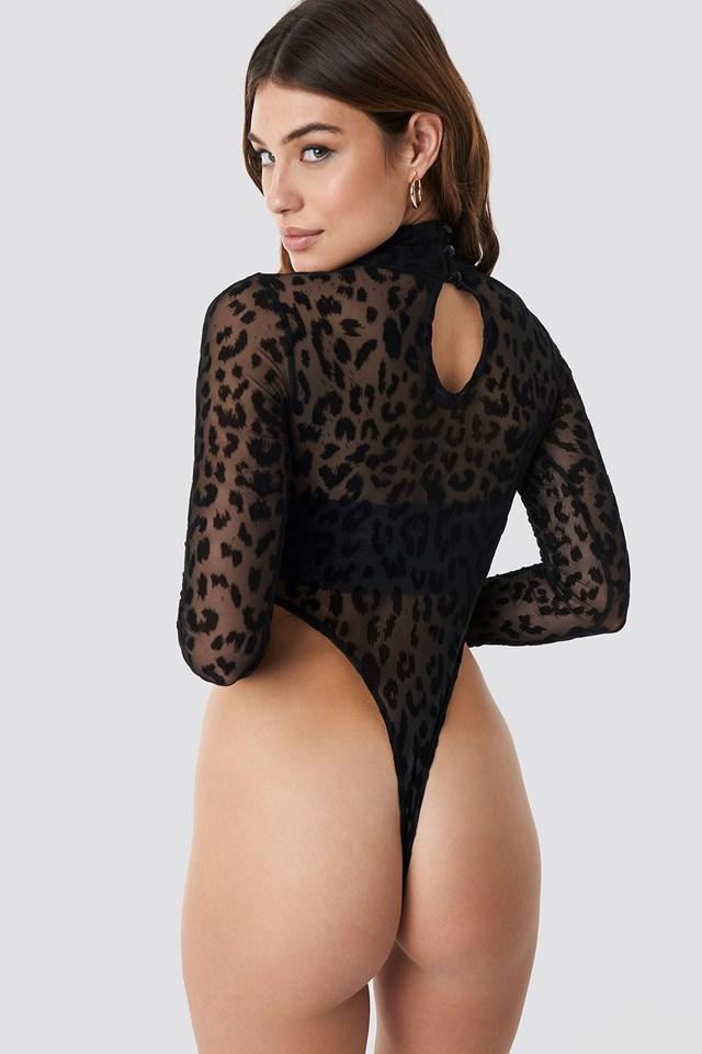 Berani Bodysuit Animal Black Net