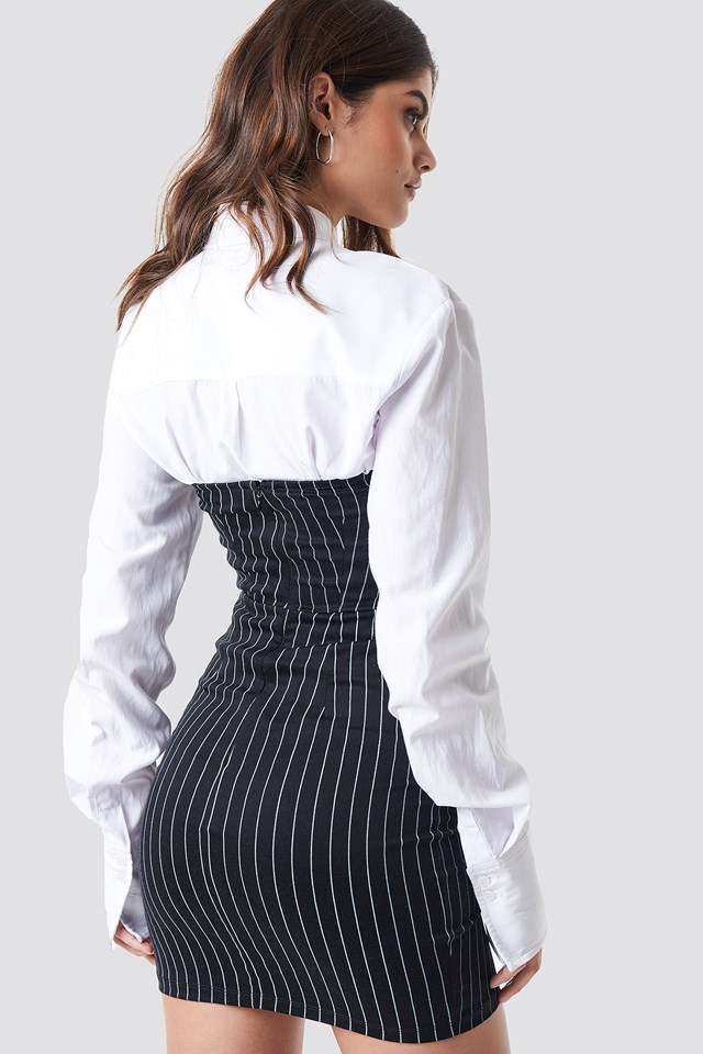 Luveries Mini Dress Black Pinstripe