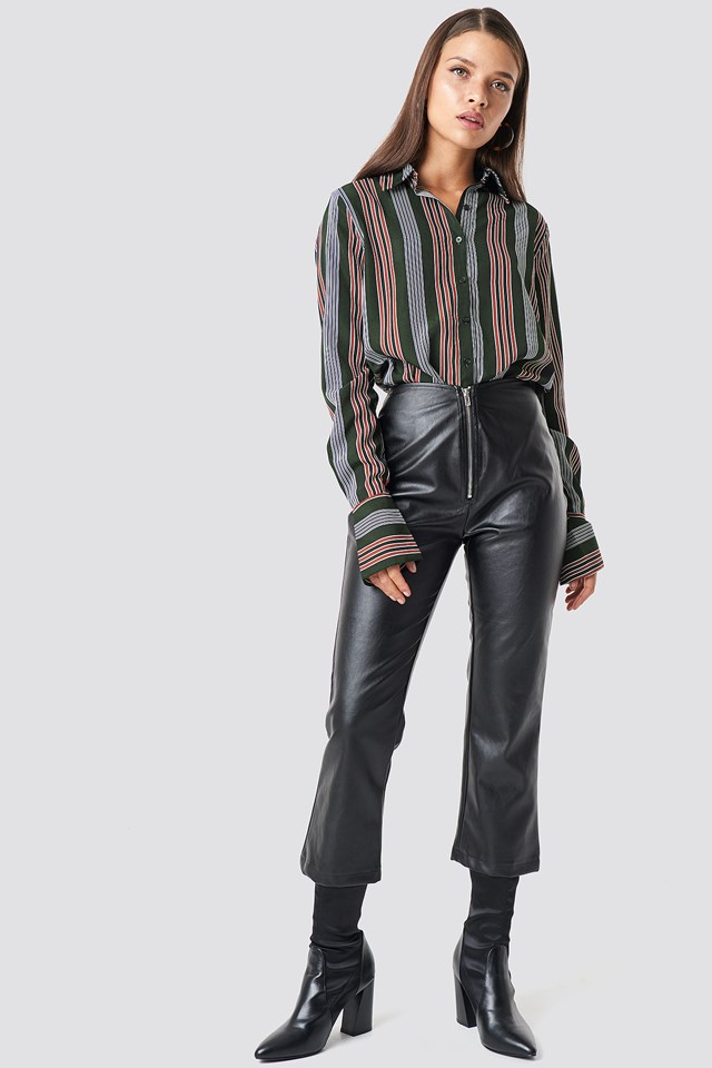 Moto Pants Vegan Leather Black