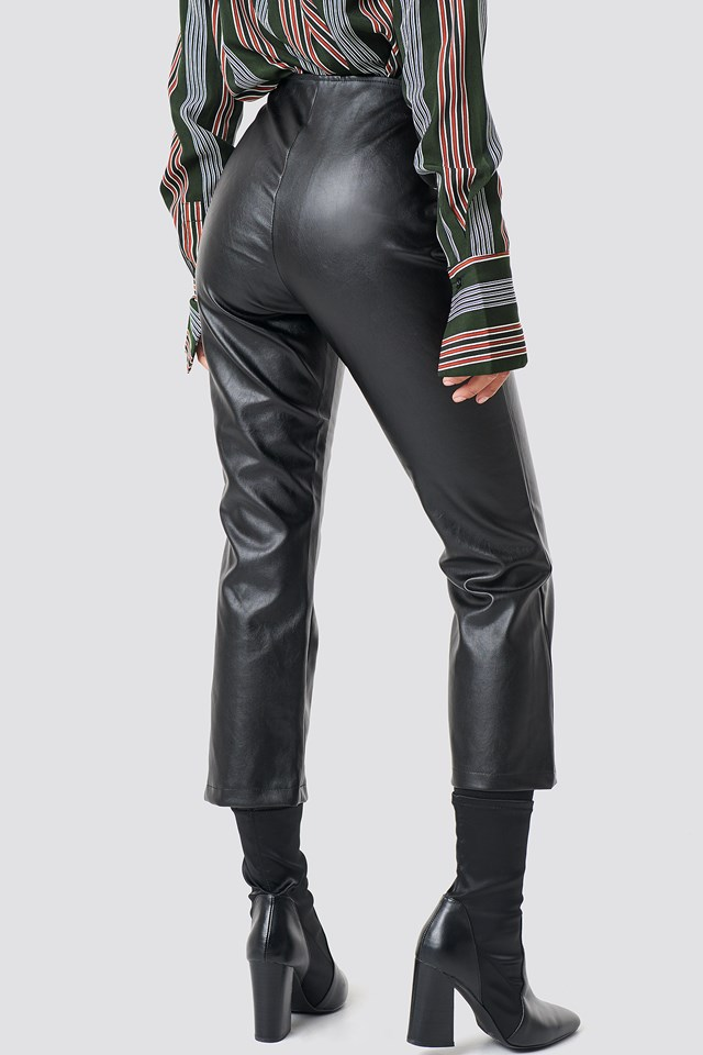 Moto Pants Vegan Leather Black