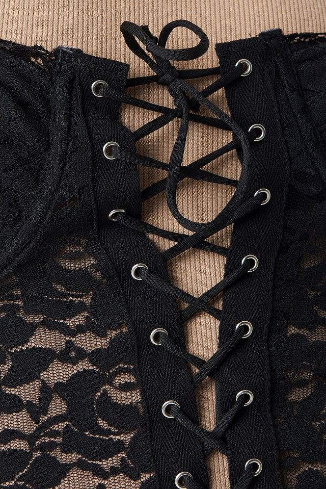 Sakina Mini Dress Black Scallop Lace