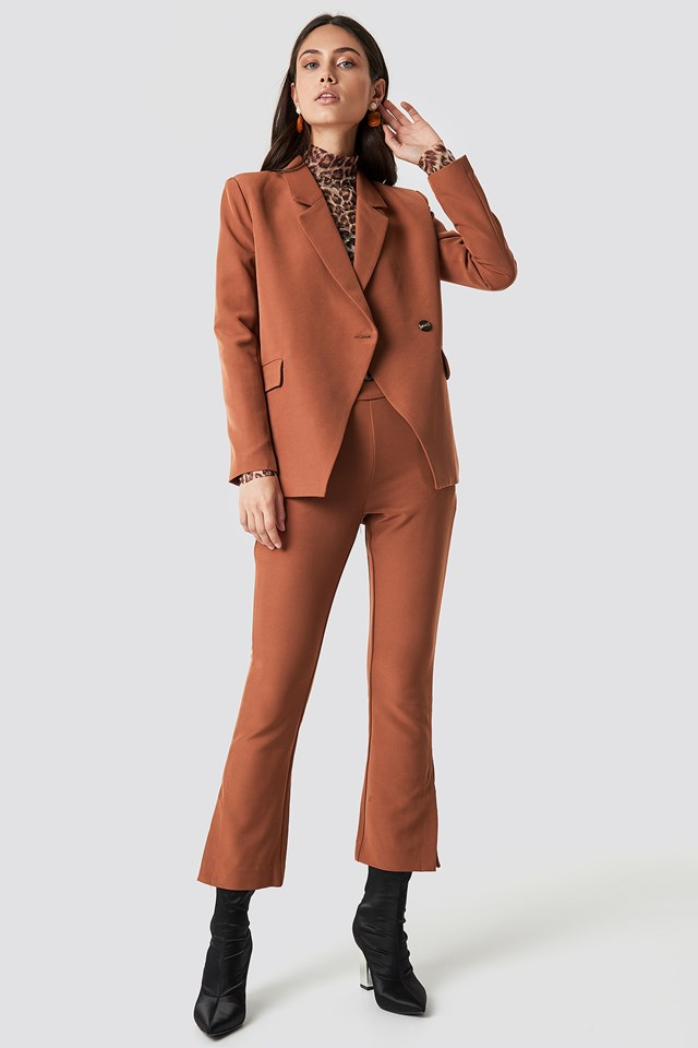 Caisa Blazer Leather Brown