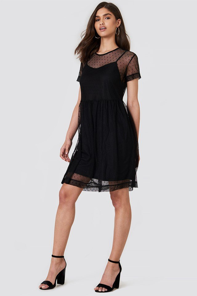 Alvin Dot Dress Black