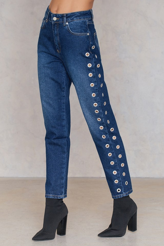 April Eyelet Mom Jeans NA-KD.COM
