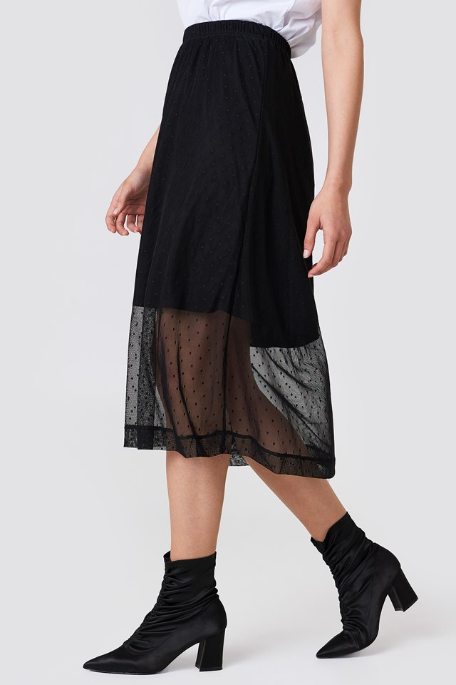 Caradee Dot Skirt Black