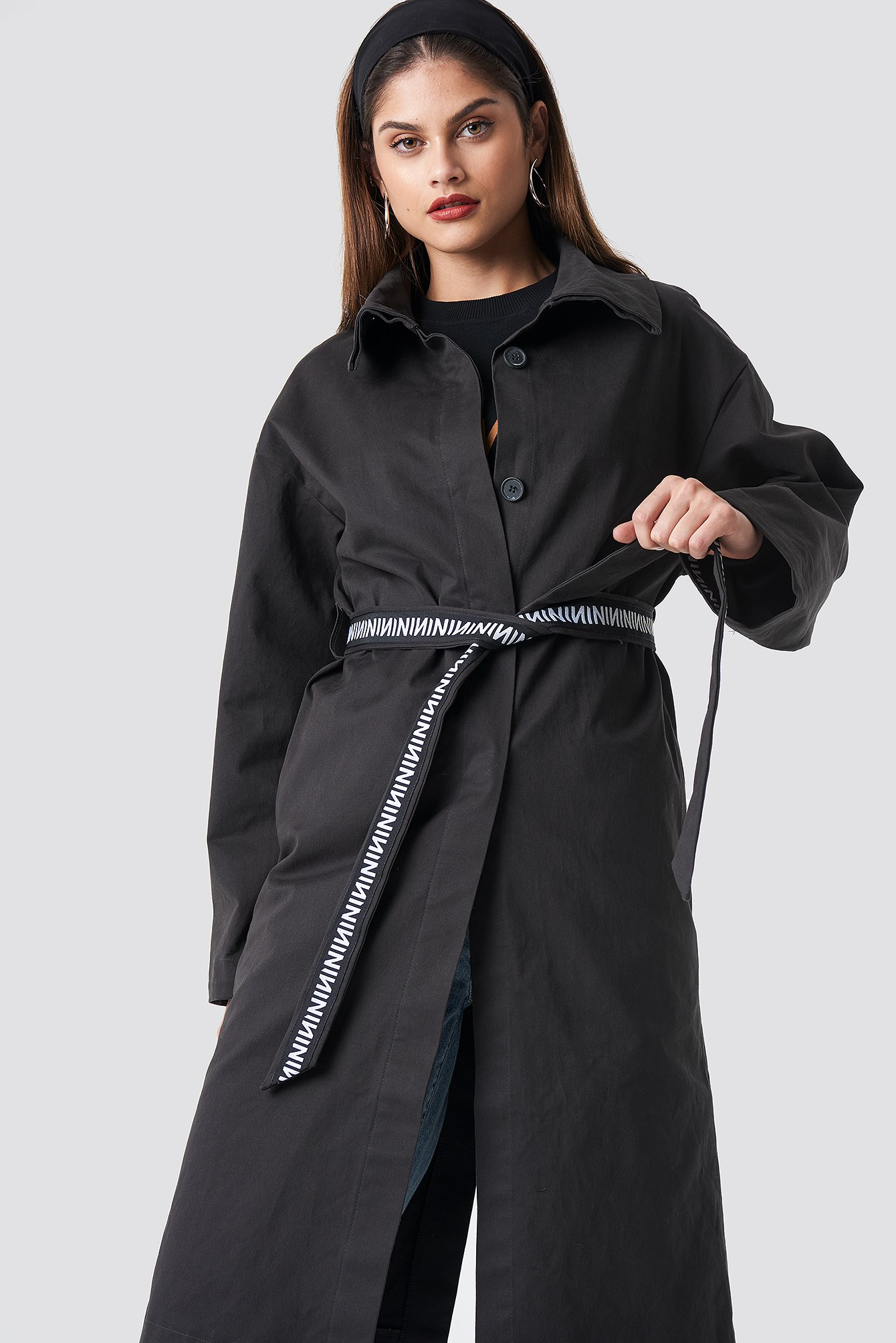 N Branded Sleeve Trench Coat NA-KD.COM