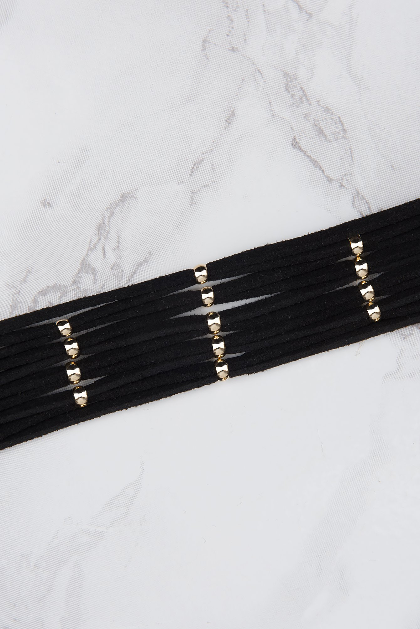 Black/Gold Multibead Suede Choker