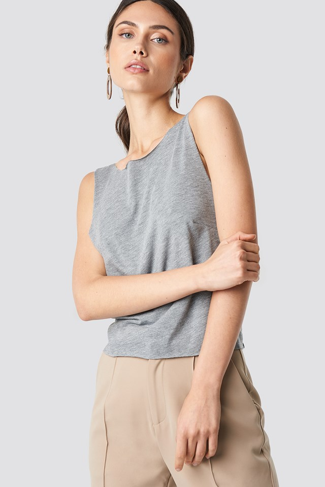 Back Knot Tank Top Grey Melange
