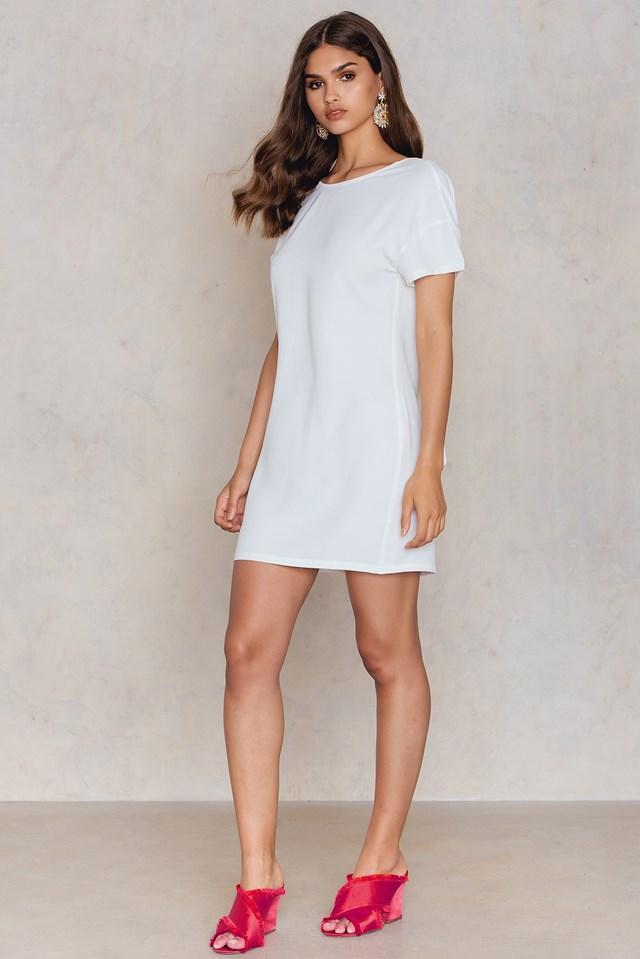 Deep V Back Dress White