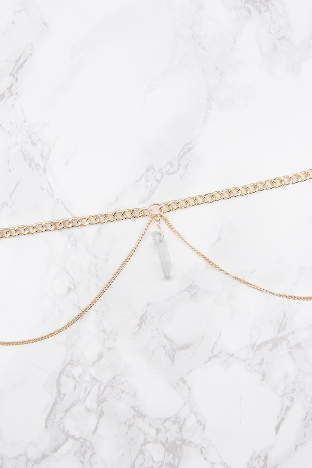 Doublechain Hanging Crystal Necklace Gold