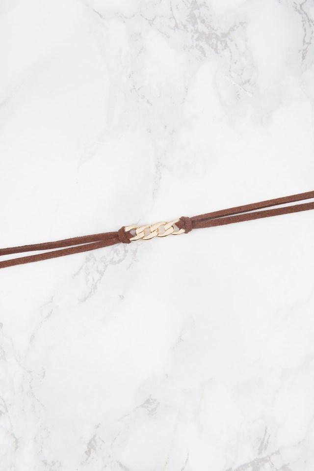 Doublestrap Chain Detail Choker Brown
