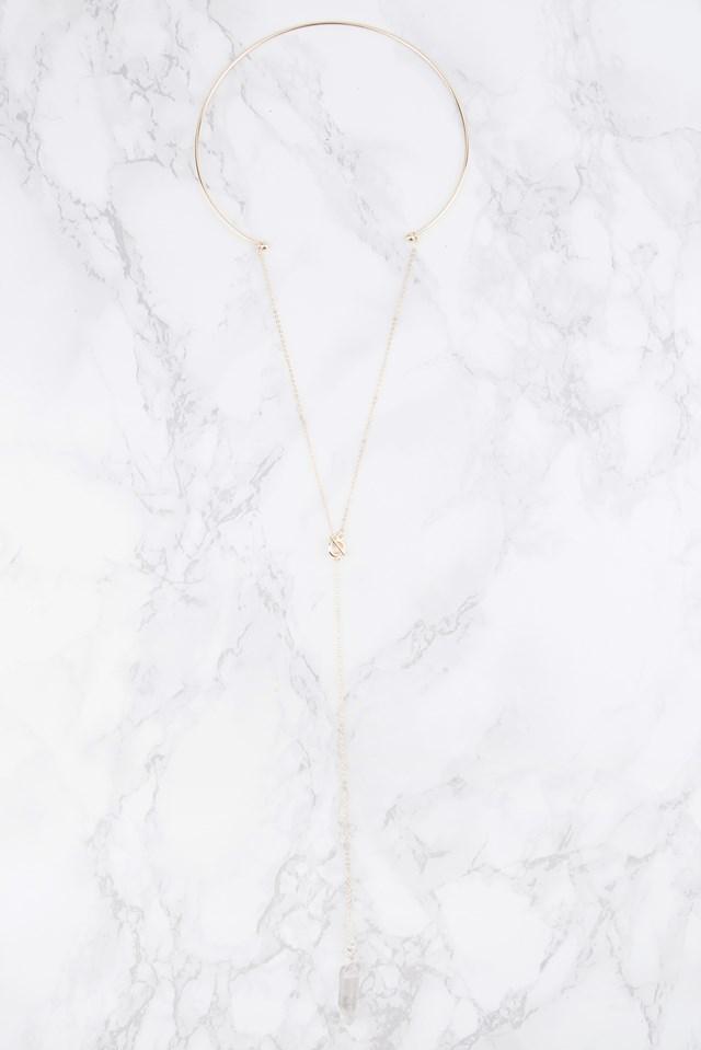 Stone Pendant Choker Necklace Gold