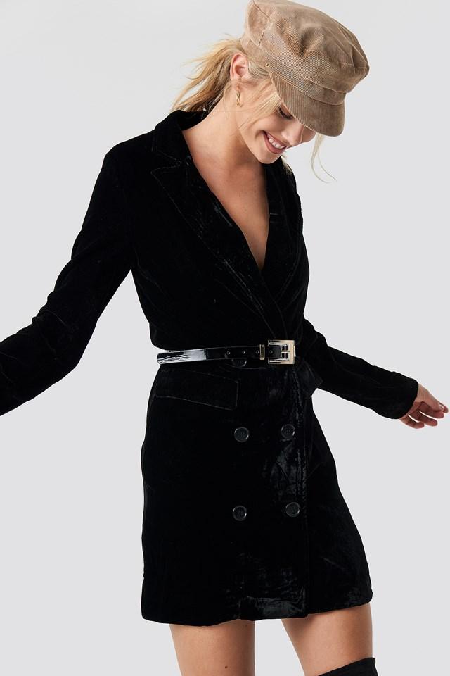 Velvet Blazer Dress Black