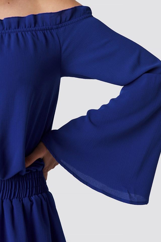 Wide Sleeve Off Shoulder Dress Blue