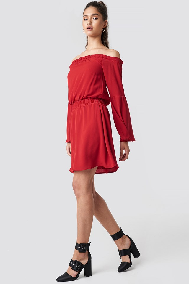 Wide Sleeve Off Shoulder Dress Red