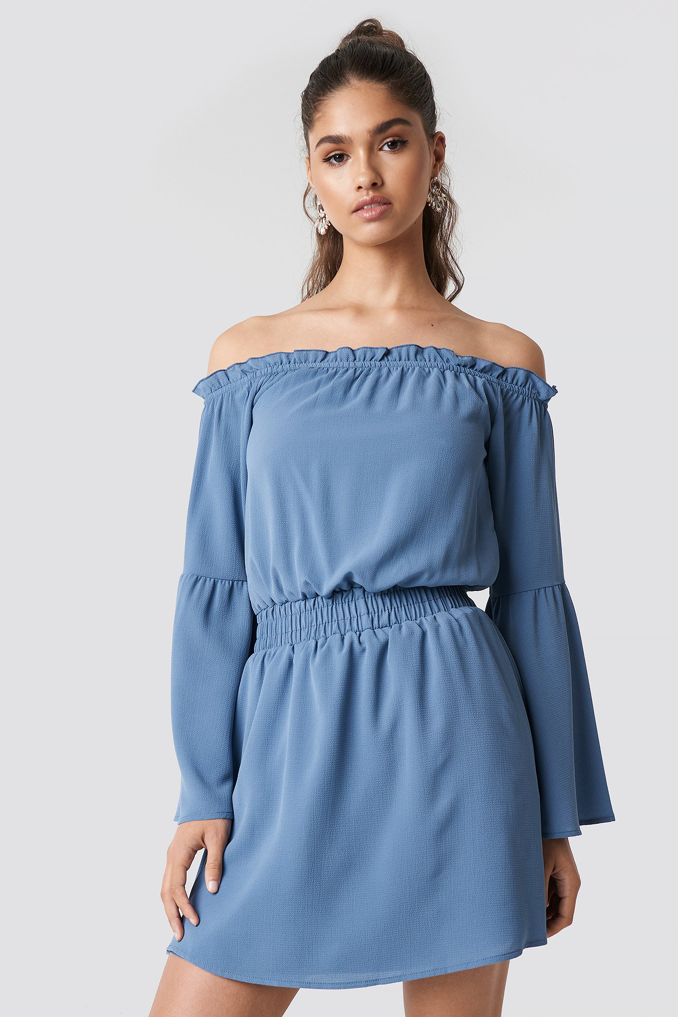 na-kd boho -  Wide Sleeve Off Shoulder Dress - Blue