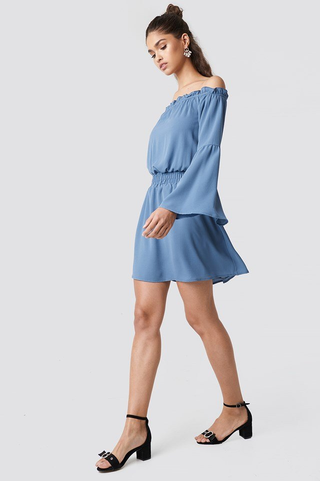 Wide Sleeve Off Shoulder Dress Dusty Blue