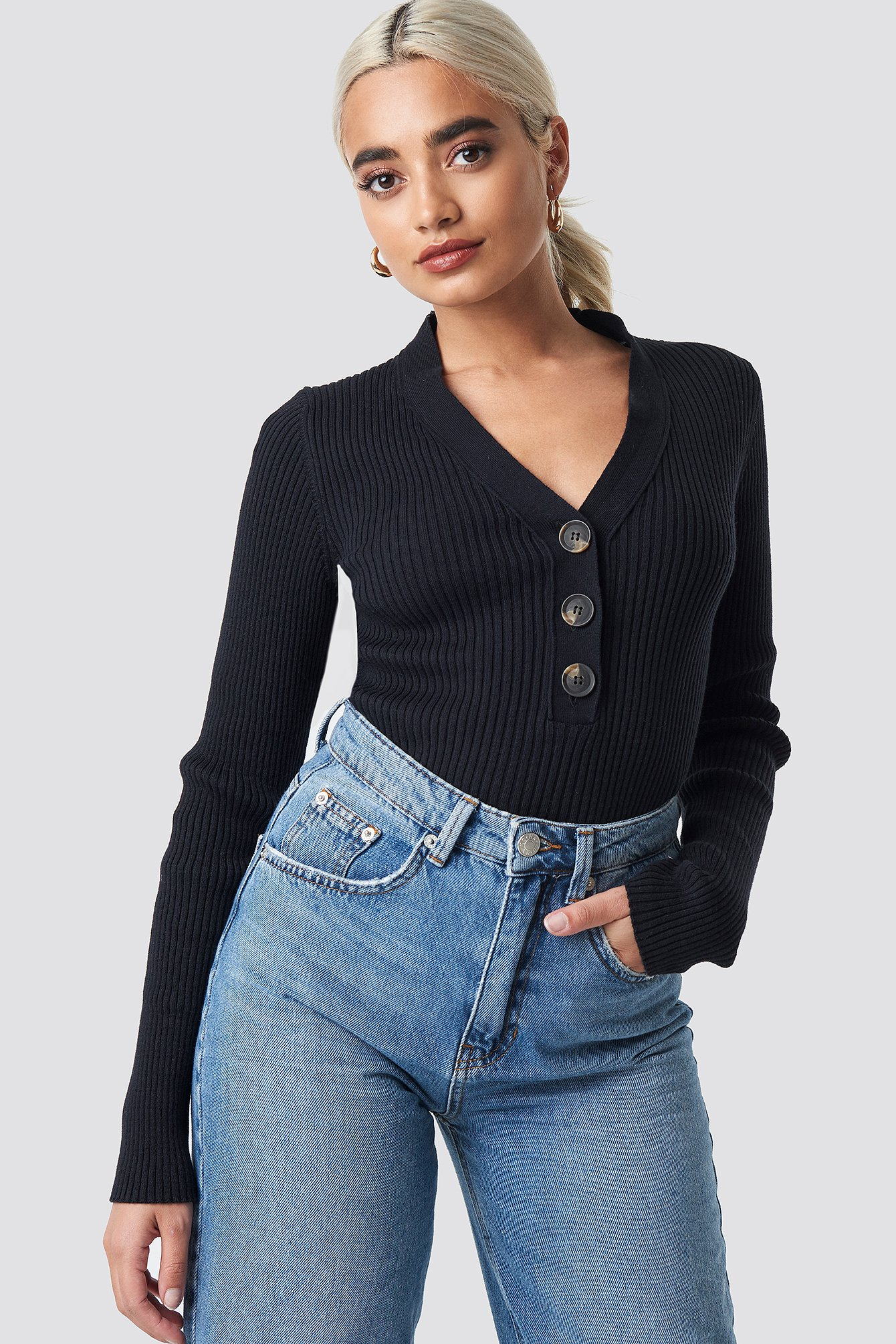 Button Up Knitted Sweater NA-KD.COM