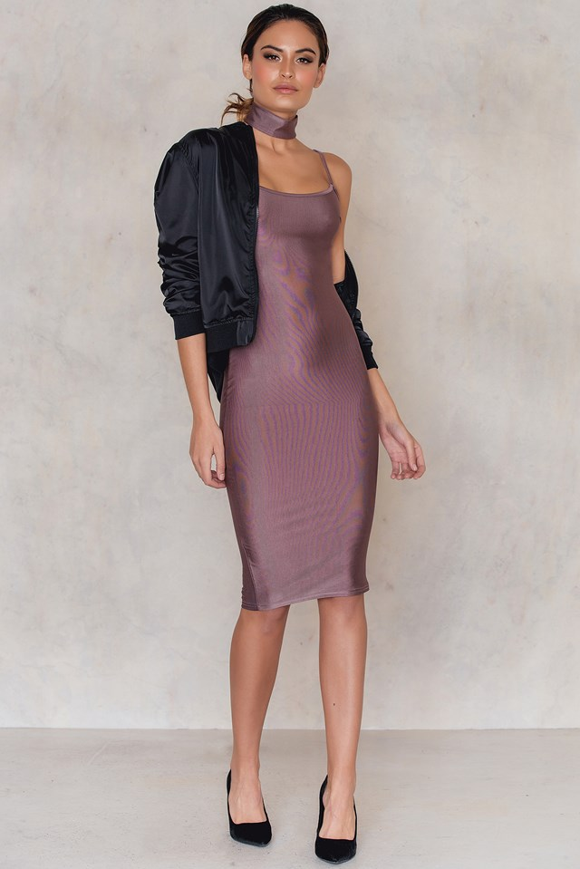 Basic's Metallic Dress Red Purple