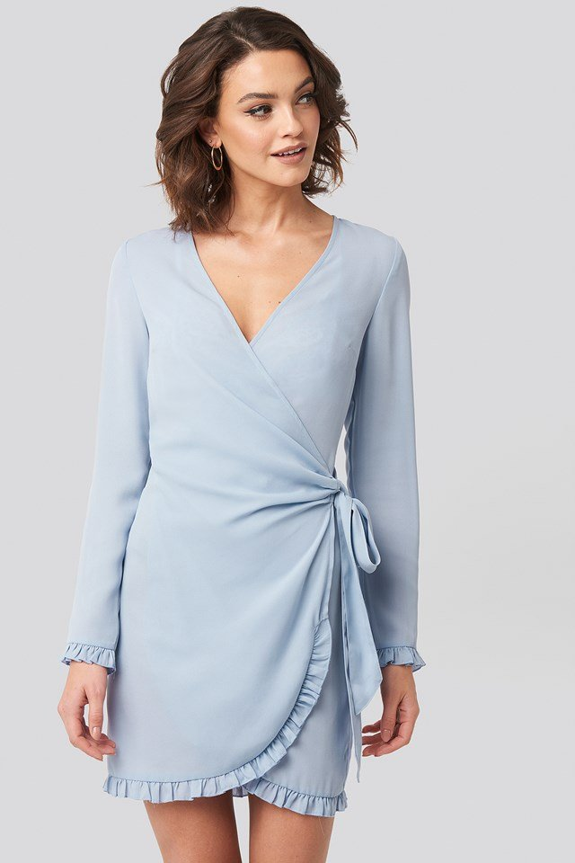 Frill Detail Tie Waist Mini Dress Stone Blue