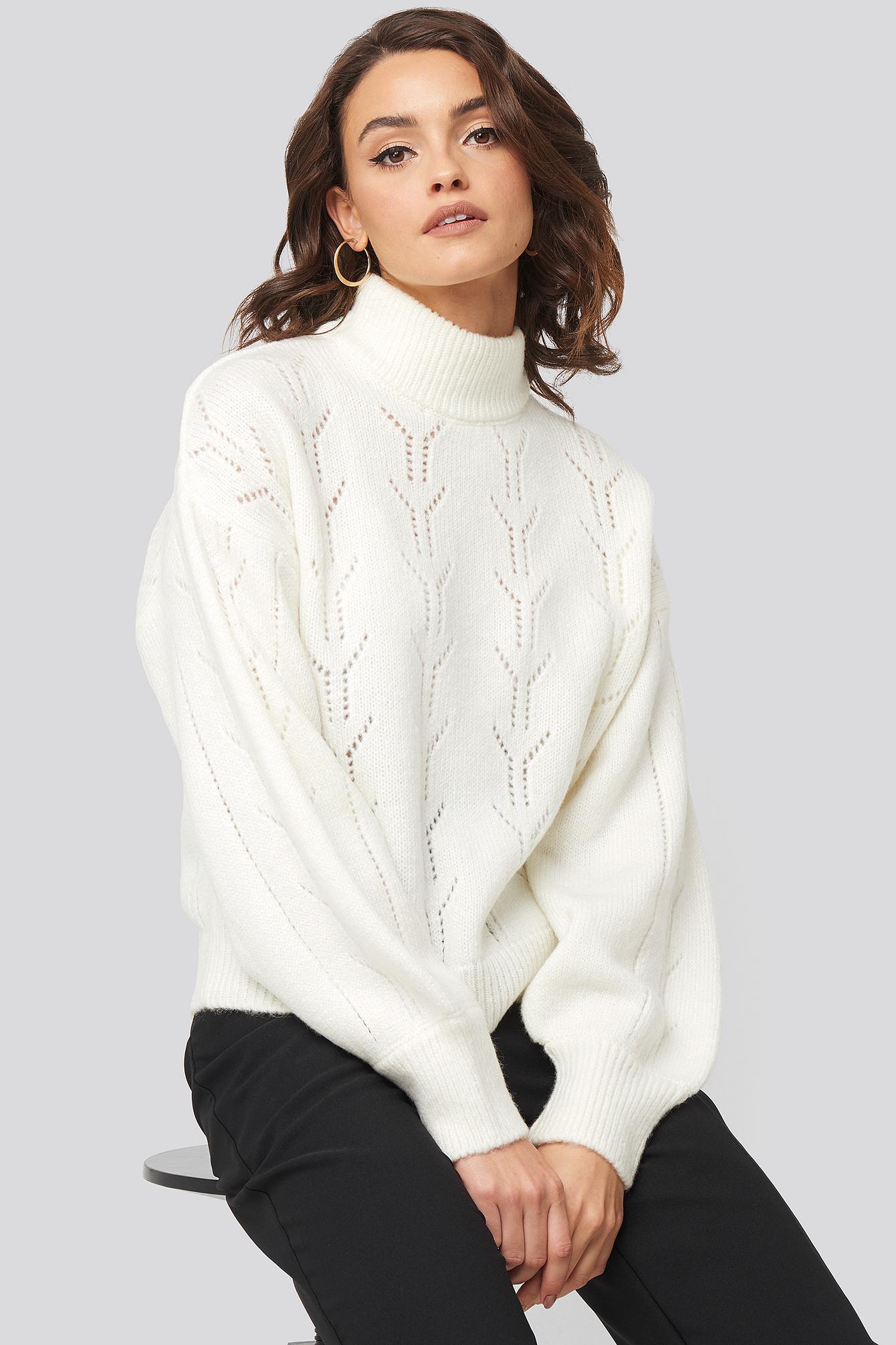 nadine x na-kd -  High Neck Balloon Sleeve Knitted Sweater - White