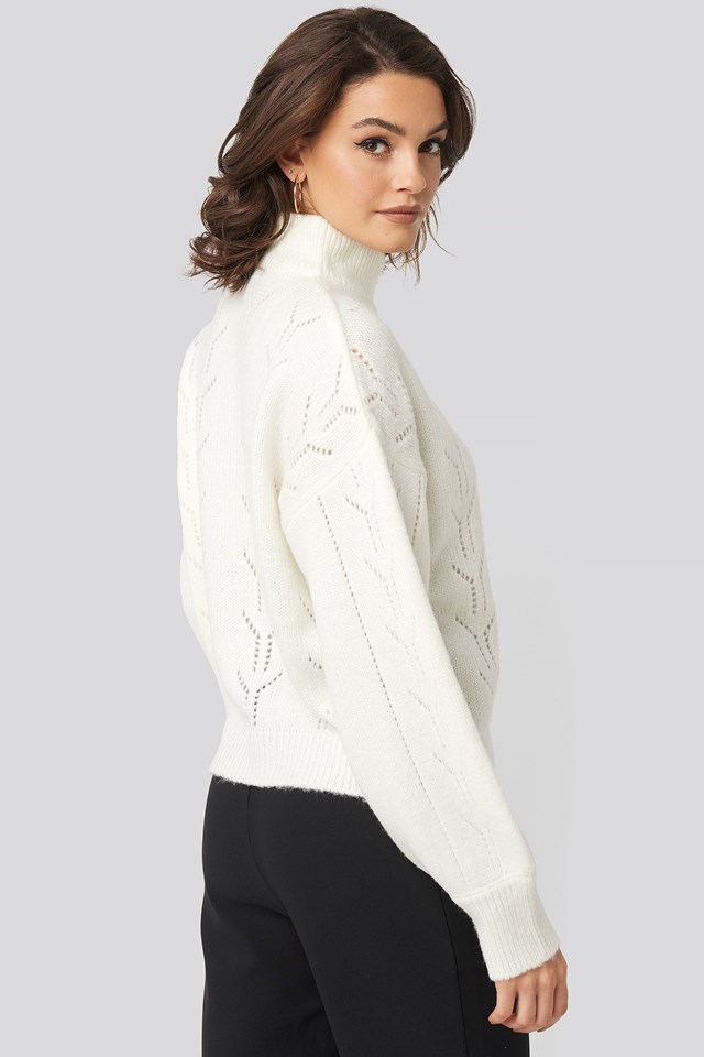 High Neck Balloon Sleeve Knitted Sweater White
