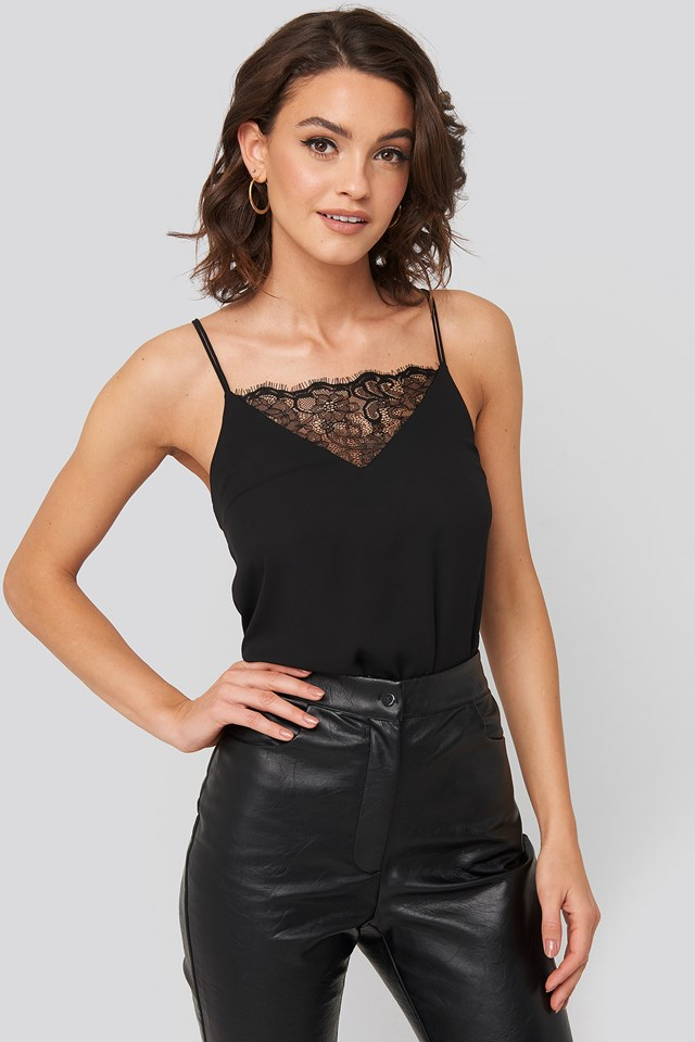 Lace Detail Singlet Black