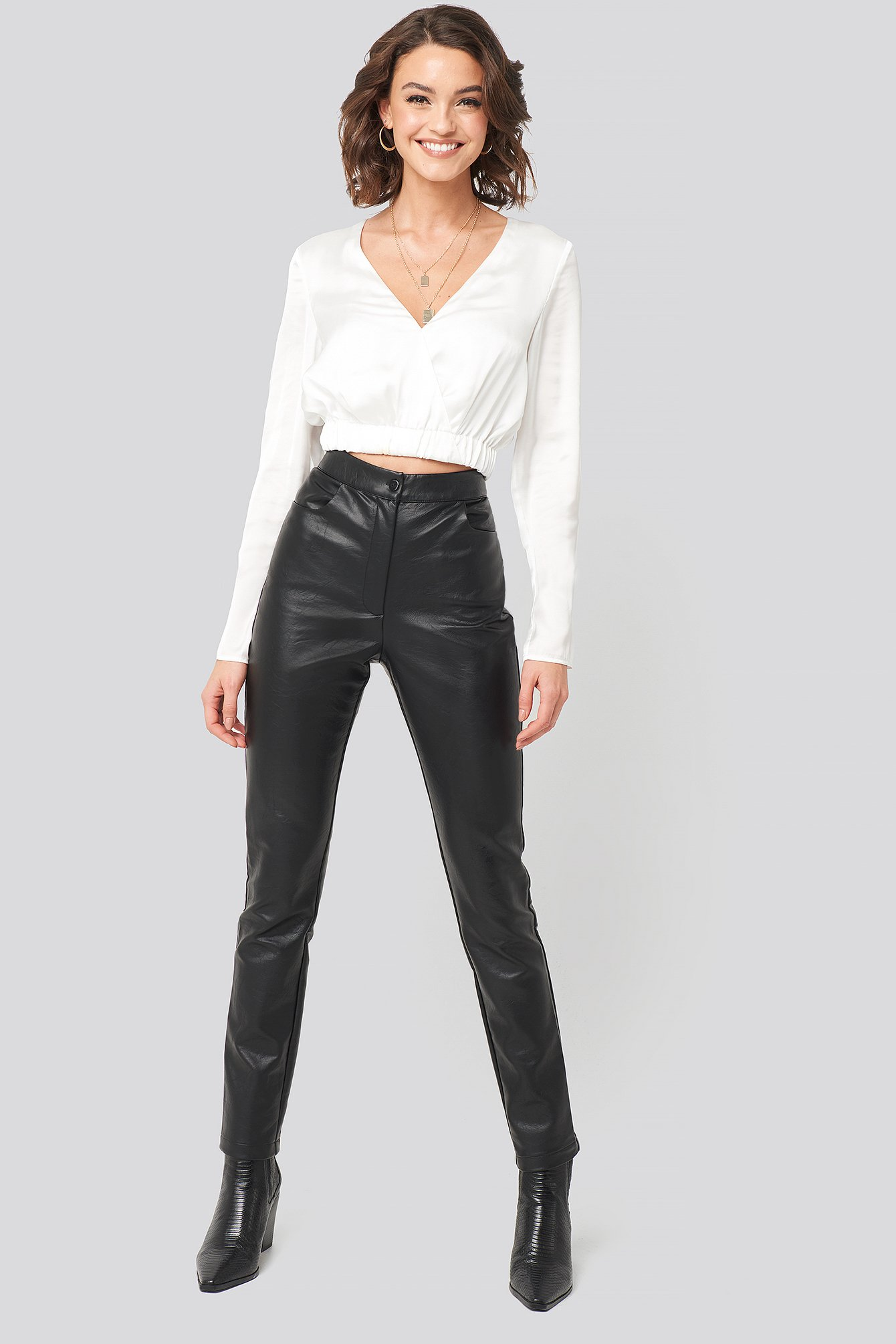 nadine x na-kd -  PU-Leather Slim Pants - Black