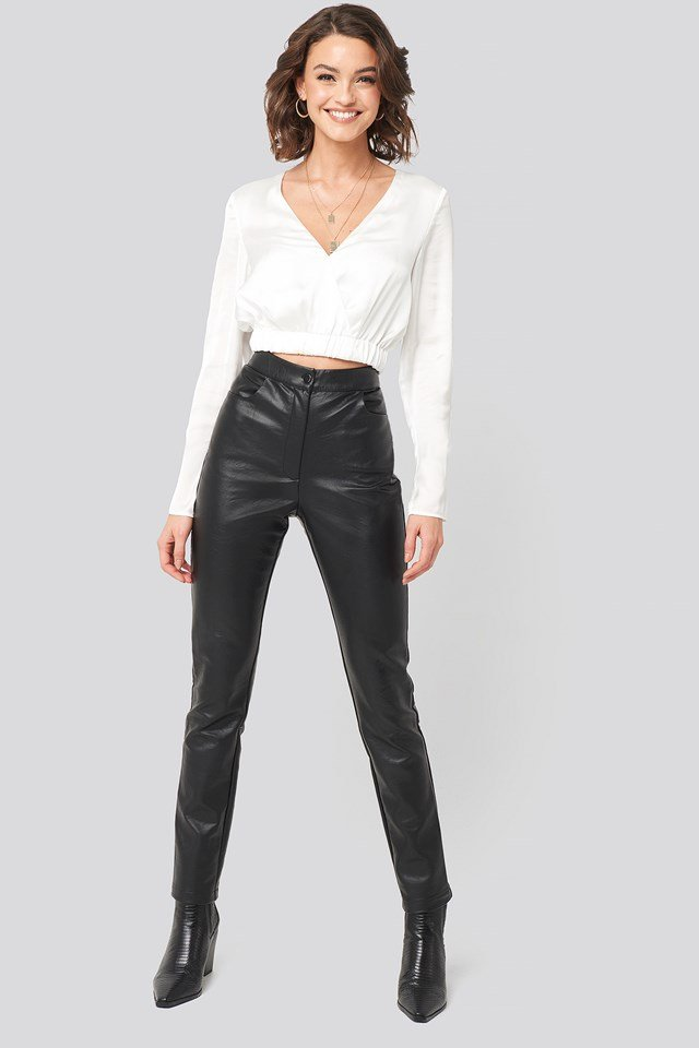 PU-Leather Slim Pants Black