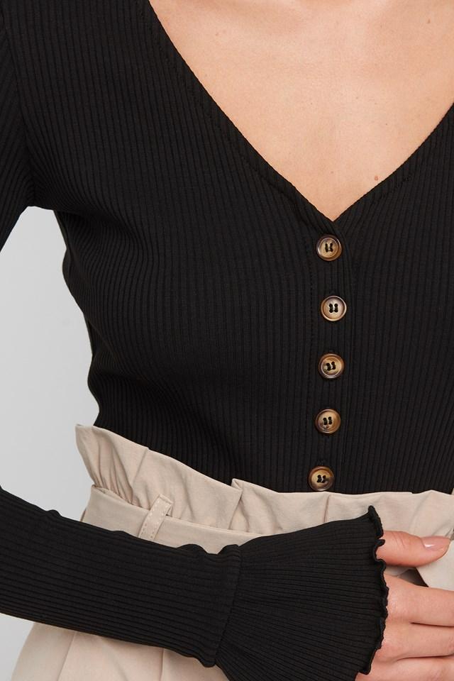 Ribbed Button Flounce Body Black