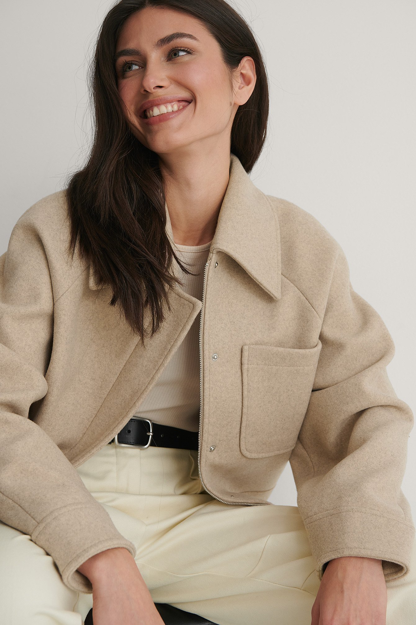 Beige Oversized Short Chest Pocket Jacket