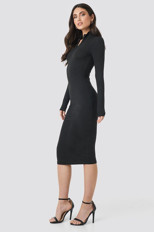 Front Zipper Skin Tight Jersey Dress NA-KD.COM