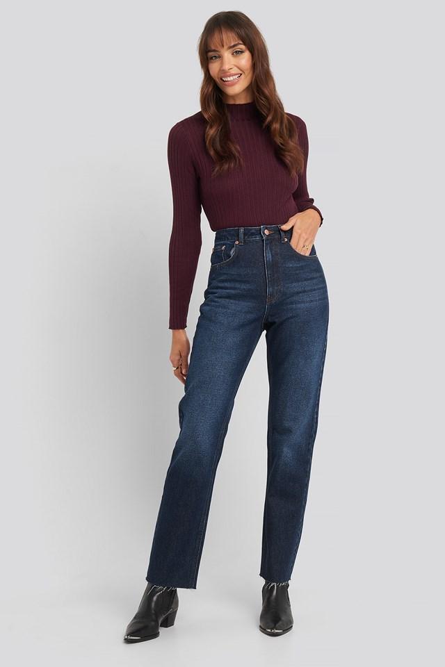 High Waist Raw Hem Straight Jeans Dark Blue