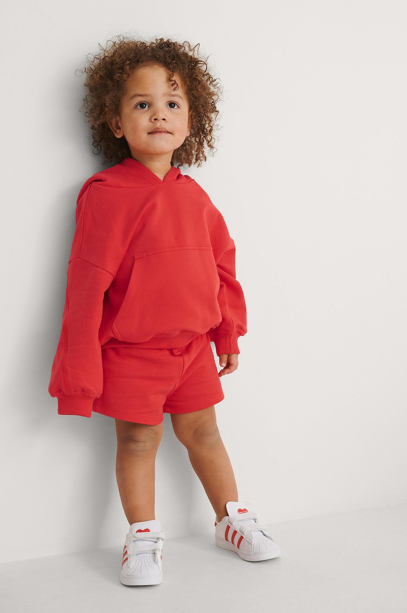 KIDS by NA-KD Orgaaniset Lyhyet Basic-Jerseyshortsit - Red