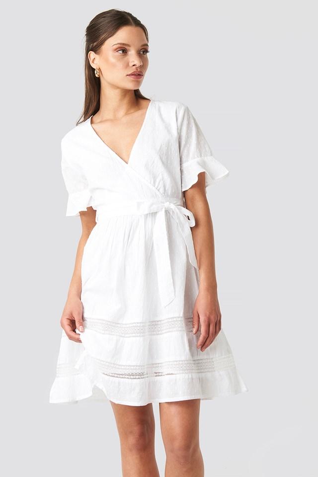 Lace Insert Cotton Mini Dress White