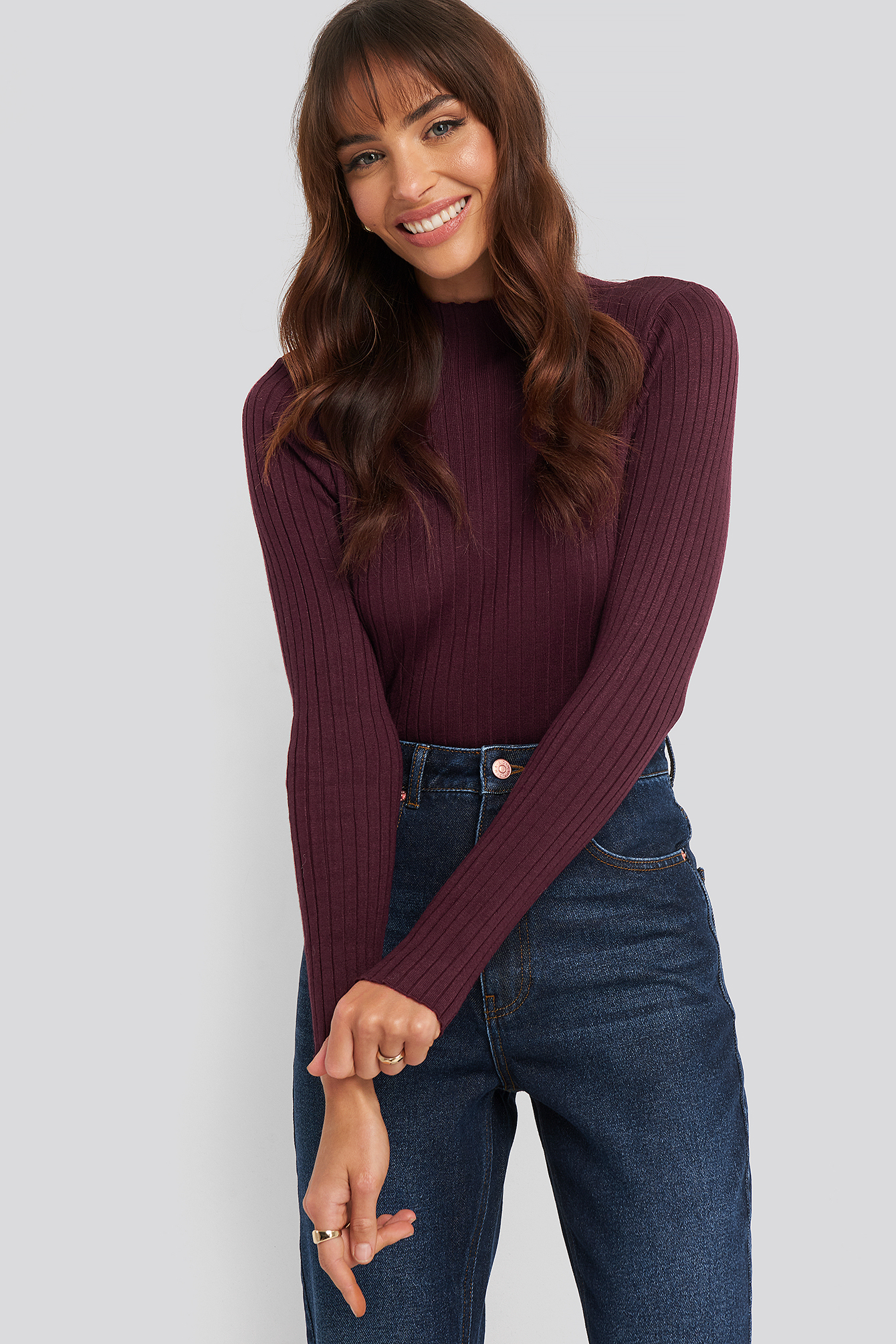 na-kd -  Ribbed Knitted Polo Sweater - Burgundy