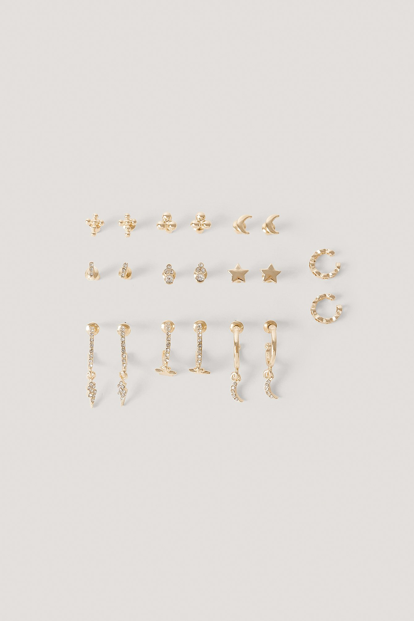Gold 10-Pack Set Med Studs Och Cuffs